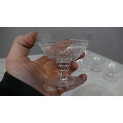 6 Coupes à Champagne En Cristal De St Louis, Art Déco
