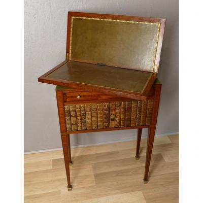 Small Console Furniture Forming Mahogany And Marquetry Games Table, Sliced Books, XIX