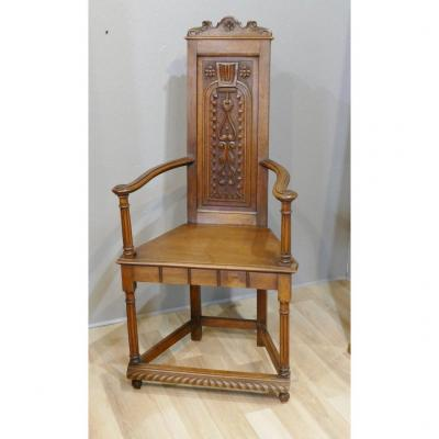Armchair Or Chair Caquetoire Style Haute Epoque Renaissance In Carved Walnut, XIXth Time