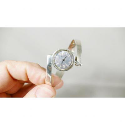 Lancel, Asymmetric Bracelet Watch In Sterling Silver, 1970s