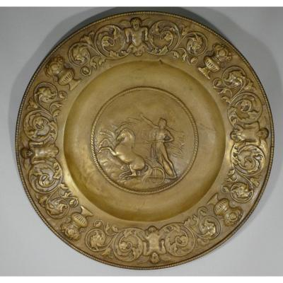 Apollo On His Char, Very Large Decorative Brass Dish, XIXth Time