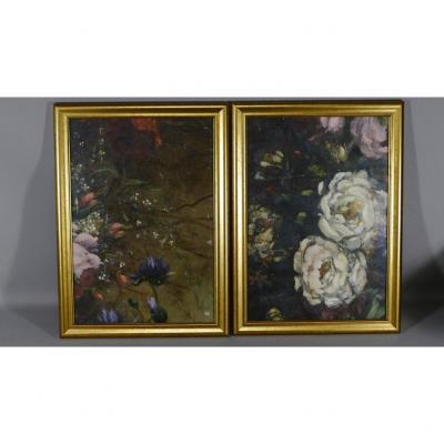 Pair Of Painted Canvases With Flowers, Aubusson Cartons, XIXth Time