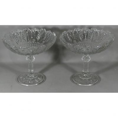 Paire De Coupes En Cristal Moulé Du Val St Lambert, Belgique, début XX ème