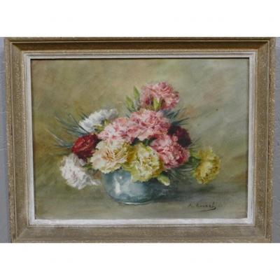 Les Oeillets, Bouquet De Fleurs à l'Aquarelle Signé Rouxel, époque XX ème