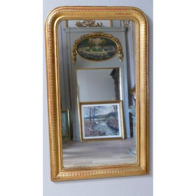 127 * 75 Cm, Louis Philippe Mirror In Golden Wood And Engraved In Cannaux, XIXth Time