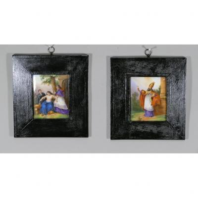 Paire De Peintures Religieuses sur Porcelaine, époque Début XIX ème