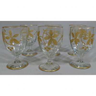 6 Crystal Liqueur Glasses With Golden Chestnut Decor, 1900s