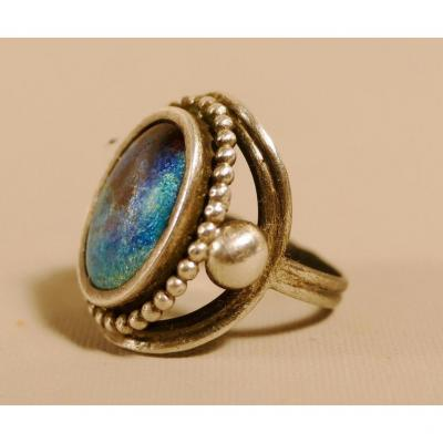 Art Deco Ring Sterling Silver And Limoges Enamel, Size 49
