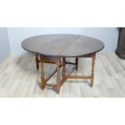 Large Gateleg Table In Oak, England, XIXth Time