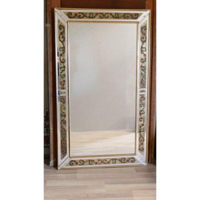 Grand Miroir églomisé à parecloses époque 1970 Avec Décor De Feuilles d'Acanthe