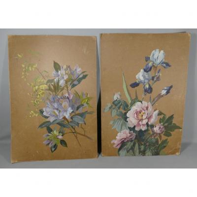 Paire De Gouaches Peintes Aux Fleurs, Signées Et Datées 1900