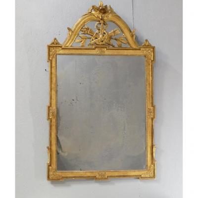 Louis XVI Mirror With Fronton With Pareclose In Wood And Gilded Stucco In The Leaf, XIXth Time