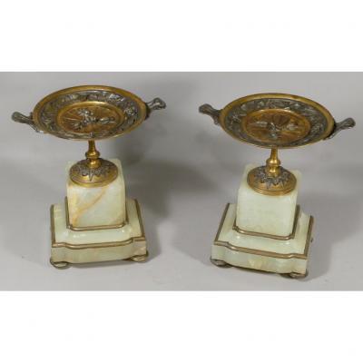 Paire De Coupes Cassolettes Aux Insectes Et Liseron En Bronze Doré Et Argenté, Socle Onyx, XIX