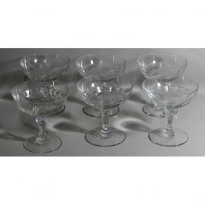 6 Coupes à Champagne En Cristal XIX ème Taillé Côtes Plates