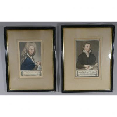 Pair Of 18th Century Engravings, Portraits Of Painters Nicoletto And Sofonisba Anguissola