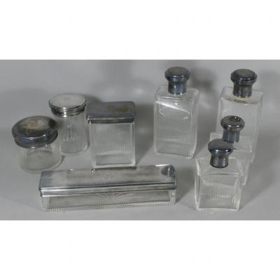 Toiletries, Bottles, Boxes In Crystal And Sterling Silver, Art Deco Period