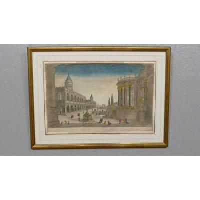 Rome, Palais Impérial, Temple De Vesta, Vue d'Optique Aquarellée, époque XVIII ème Siècle