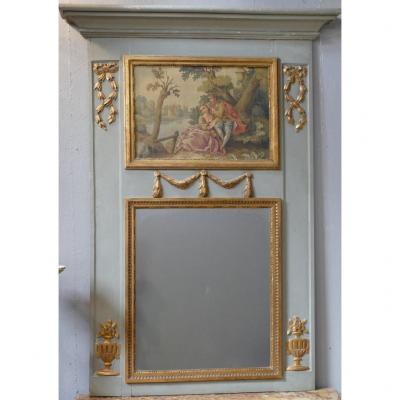 Trumeau Louis XVI à La Scène Galante En Bois Laqué Gris Et Doré, époque Fin XVIII ème Siècle.