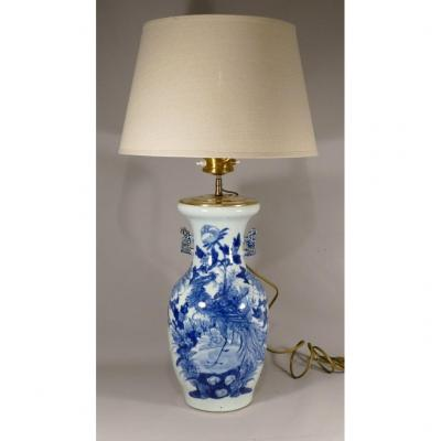 Chinese Celadon And Blue Vase With Phoenix And Peony Mounted In Lamp, XIXth Time