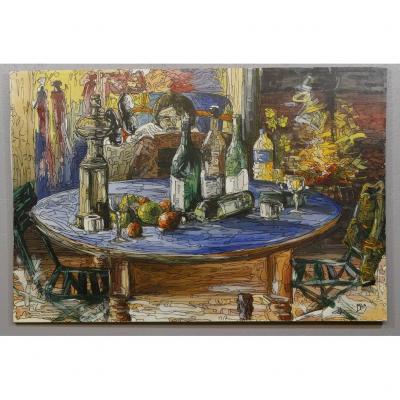 Large Still Life Modern School Oil And Felt On Canvas, Signed Mile