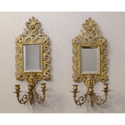 Paire De Grandes Appliques à Miroir Napoléon III En Bronze, Fleurs De Lys Et Mascarons