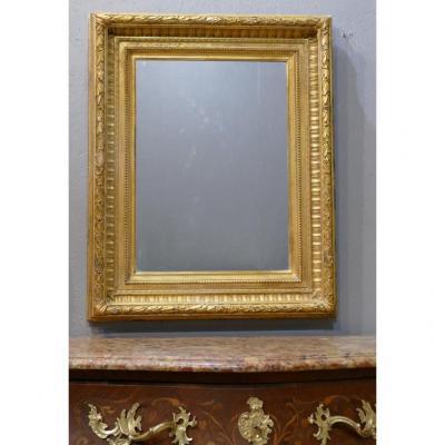 Miroir Cadre En Bois Et Stuc Doré à La Feuille, époque Napoléon III, XIX ème
