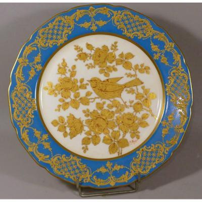 Assiette De Collection à l'Oiseau Et Fleurs Peint à La Main, à l'Or Fin, Limoges, Fin XIX ème