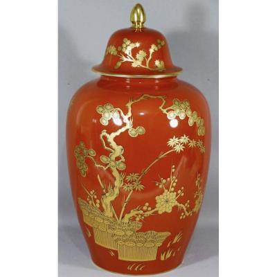 Bernardaud Séoul, Potiche Rouge Et Or Japonisant En Porcelaine De Limoges