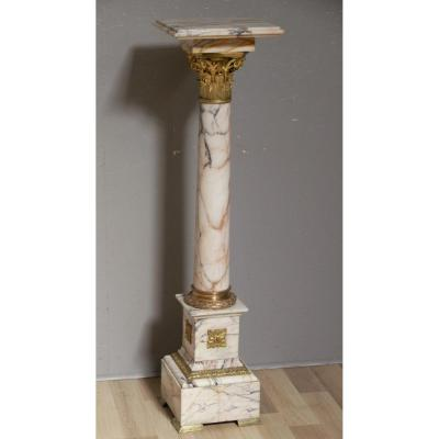 Colonne Napoléon III En Marbre Et Bronze Doré Au Chapiteau Corinthien, XIX ème