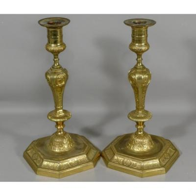 Pair Of Louis XIV Style Candlesticks In Gilt Bronze With Figures Of Roman Emperors, XIX