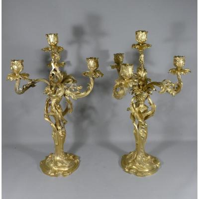 Pair Of Louis XV Rocaille Candlesticks In Gilt Bronze, XIXth Time