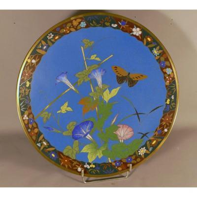 Plat Décoratif En Bronze Et émaux Cloisonnés à Décor d'Ipomée Et Papillon,Japon, Fin XIX ème