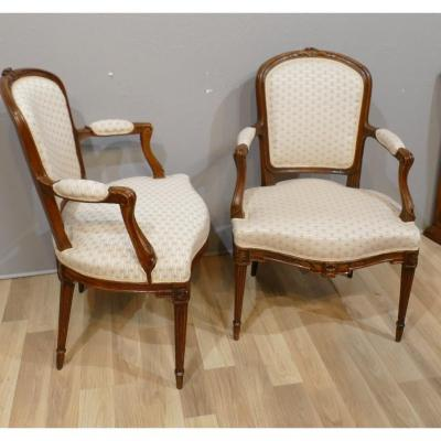 Pair Of Louis XV Louis XVI Transition Period Armchairs In Carved Oak, XVIII