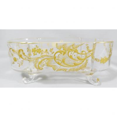 Baccarat, Centerpiece Or Planter In Crystal Gilded With Fine Gold, Napoleon III Period