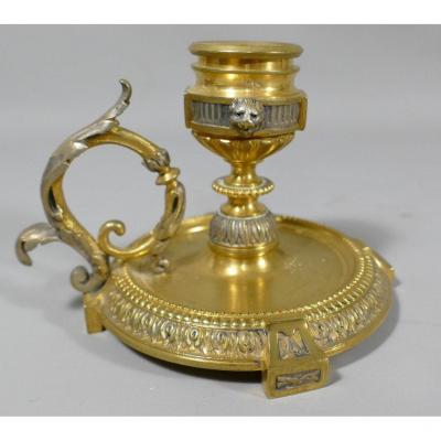 Bougeoir à Main En Bronze Doré Et Argenté Dans Le Goût De Bardebienne , époque Napoléon III