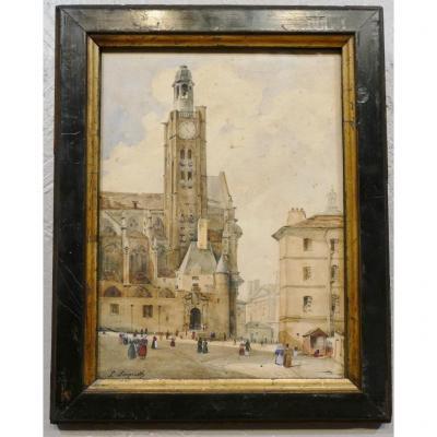 Léonard Saquet, Eglise Saint Étienne Du Mont à Paris, Vue Depuis La Rue Sainte Geneviève