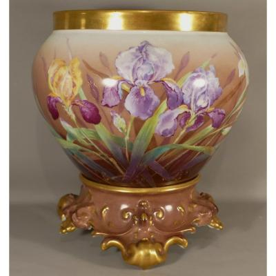 Cache Pot With Irises, Limoges Porcelain Hand Painted, Late Nineteenth
