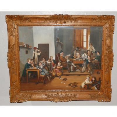 A l'école!  Superbe Grand Pastel XIX ème Dans Cadre Louis XIV En Chêne Sculpté
