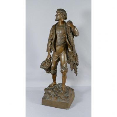 The Return From Fishing, Large Statue In Regulates Patinated Bronze, Fisherman, XIXth Time