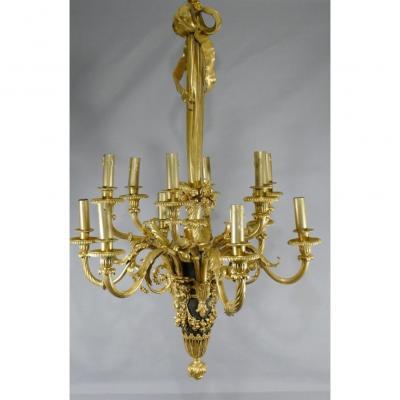 Lustre Louis XVI En Bronze Doré Et Patiné Signé Lescurieux Dans Le Goût De Beurdeley Dasson
