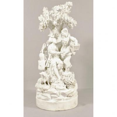 Locré And Russinger, Group Sculpture In Biscuit XVIII, Gallant Scene With The Bird