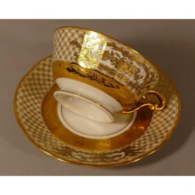 Bernardaud, Lamballe, Collection Cup In Golden White Porcelain And Gold Inlay