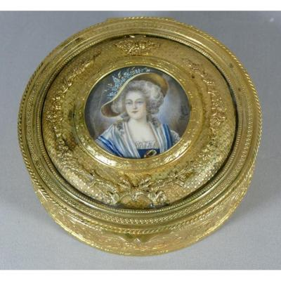Jewelry Box In Bronze And Gilded Brass And Miniature On Ivory, XIXth Time,