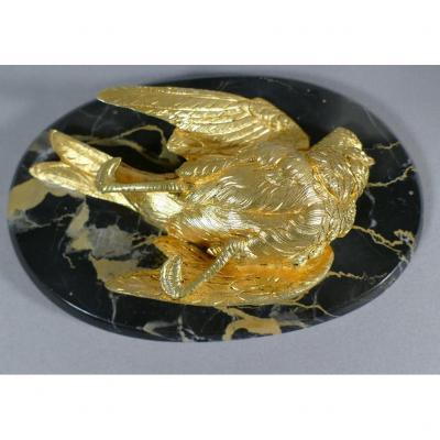 Jules Moigniez, Bird Paperweight, Gilt Bronze And Marble, XIX