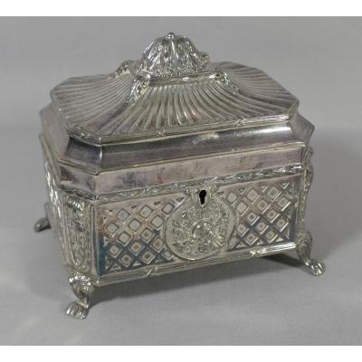 Louis XVI Style Box In Silver Metal Wmf, XIX