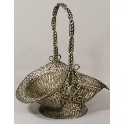 Louis XVI Basket Bridal Basket In Braided Silver Wire Basketry, Early Twentieth Time