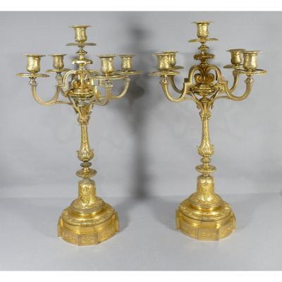 Paire De Candélabres, Chandeliers De Style Régence En Bronze Doré, époque XIX ème