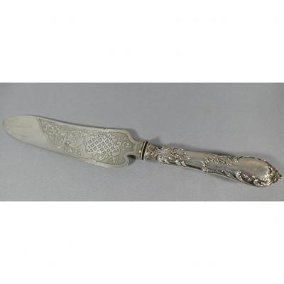 Cake Knife, Sterling Silver And Engraved Metal, XIXth Time