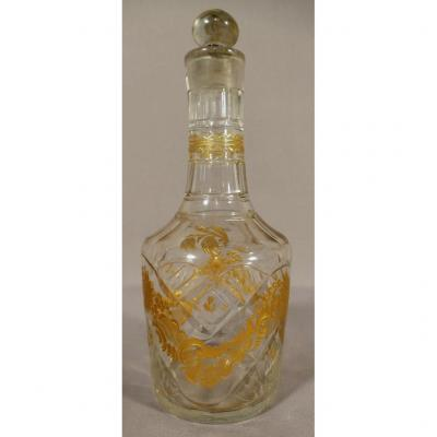 18th Century Carafe In Blown Glass, Cut And Gilded, Louis XVI Period