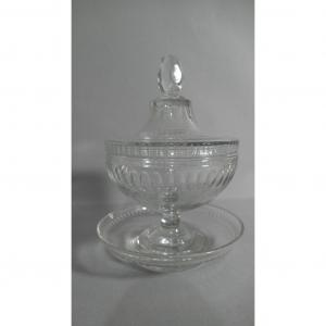 Drageoir Compotier In Cut Crystal And Its Saucer, Baccarat, XIX